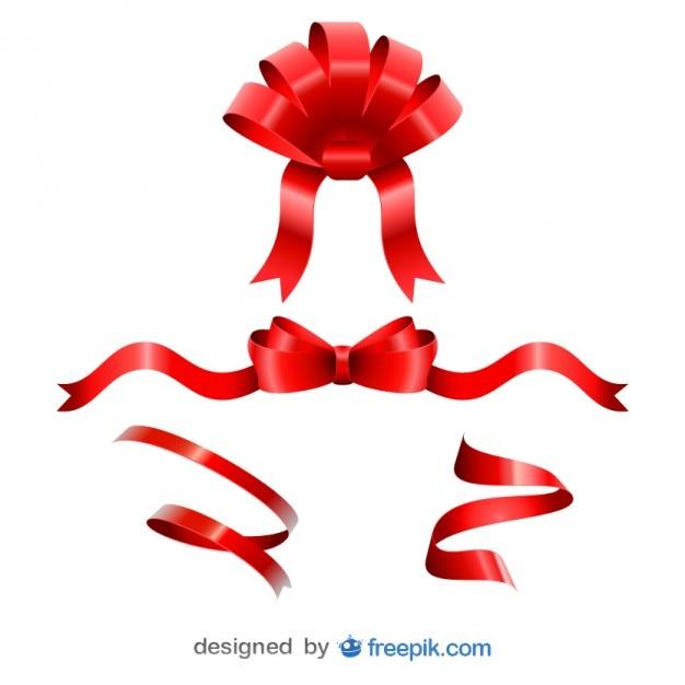 Noël amusement rubans rouges fixés Vecteur gratuit