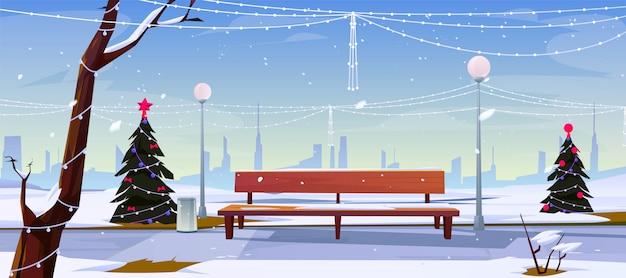 Noël au parc de la ville Vecteur gratuit