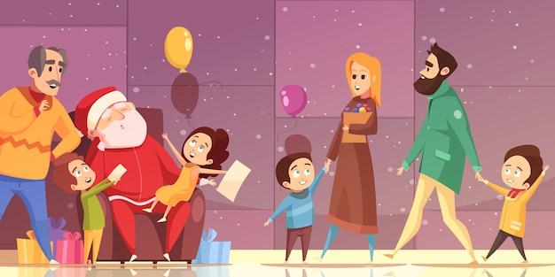 Noël de bande dessinée Vecteur gratuit