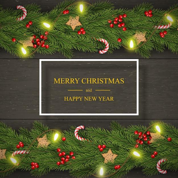 Noël sur bois sombre avec des souhaits, des branches de pin, des baies. Vecteur Premium