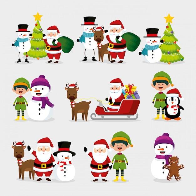 Noël avec bonhomme de neige et personnages Vecteur gratuit