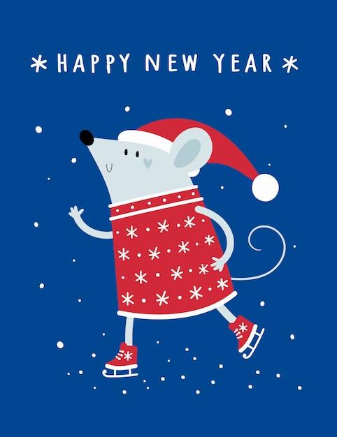Noël Bonne Année. Rat, Souris, Souris, Bébé En Bonnet De Noel Vecteur Premium