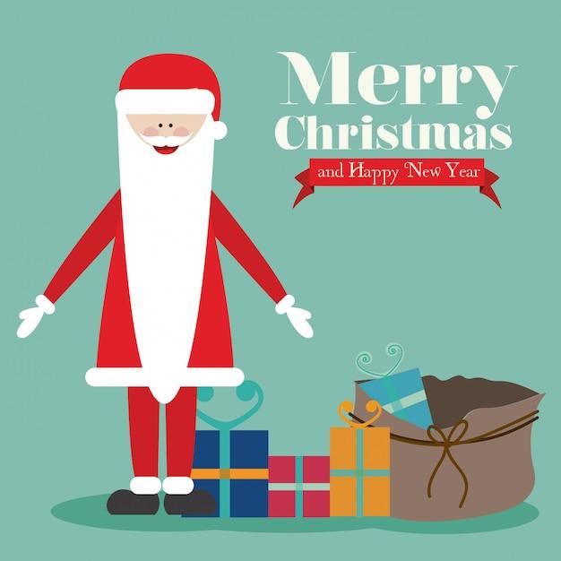 Noël et bonne année Vecteur Premium