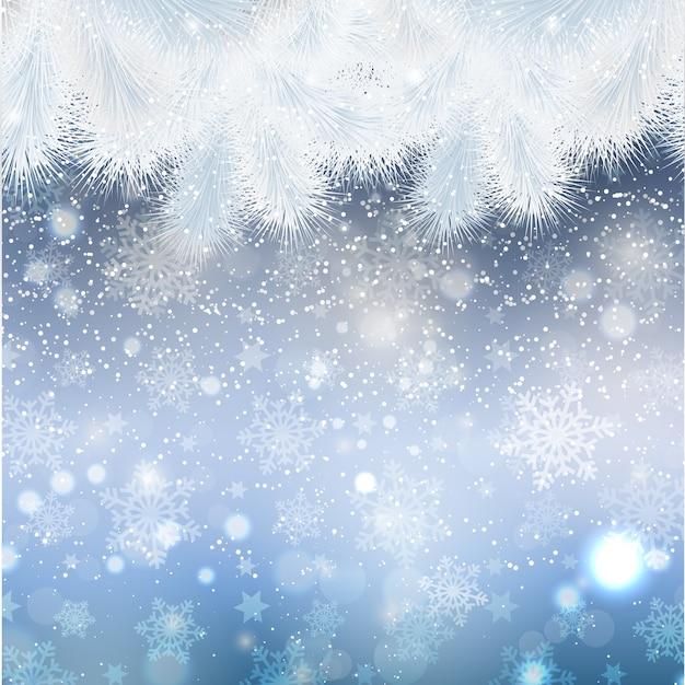 Noël Avec Bordure De Sapin Vecteur gratuit
