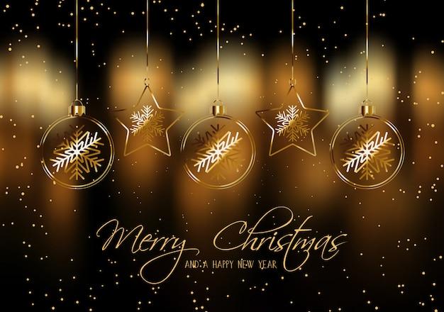 Noël avec des boules suspendues Vecteur gratuit