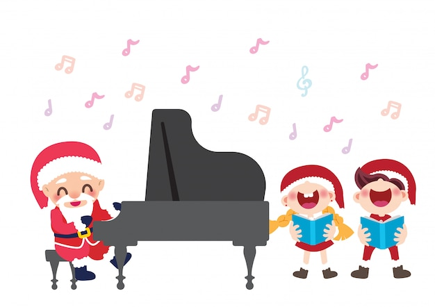 Noël célébration enfants chorale et pianiste santa Vecteur Premium