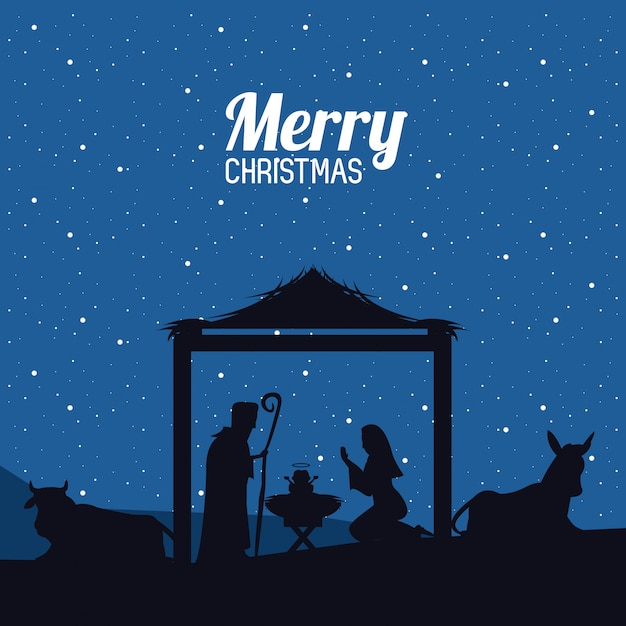 Noël chrétien traditionnel Vecteur Premium