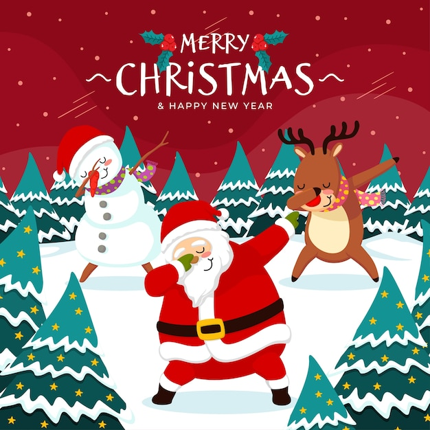 Noël Dab Dance Santa Avec Des Amis Vecteur Premium