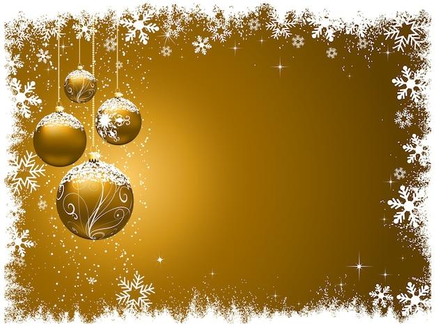 Noël Décoratif Avec Des Boules De Neige Vecteur gratuit