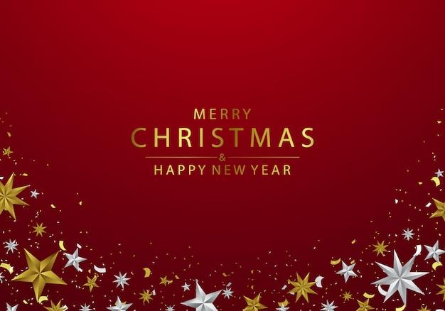 Noël décoré d'élégantes étoiles d'argent et d'or Vecteur Premium