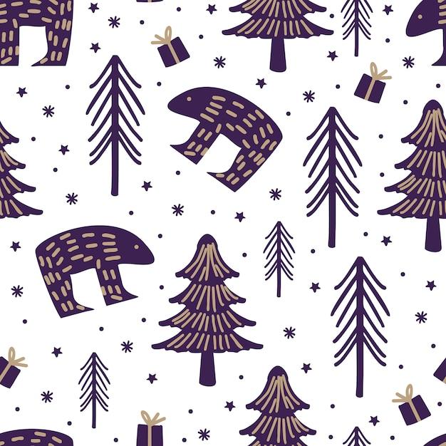 Noël dessinés à la main sans couture modèle dessin mignon enfantin Vecteur Premium