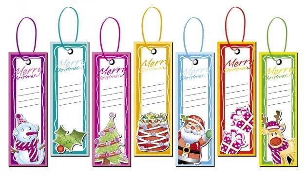 Noël étiquettes collection Vecteur gratuit