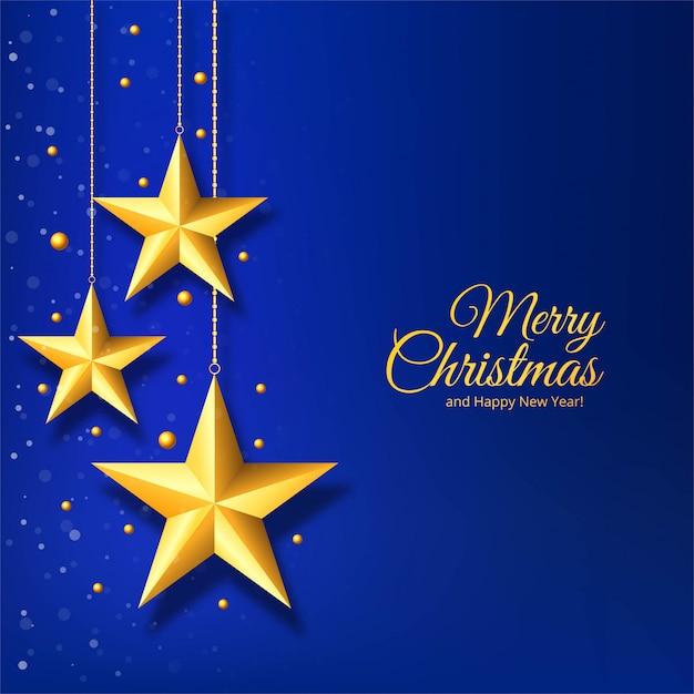 Noël Avec étoile Dorée Sur Fond Bleu Vecteur gratuit