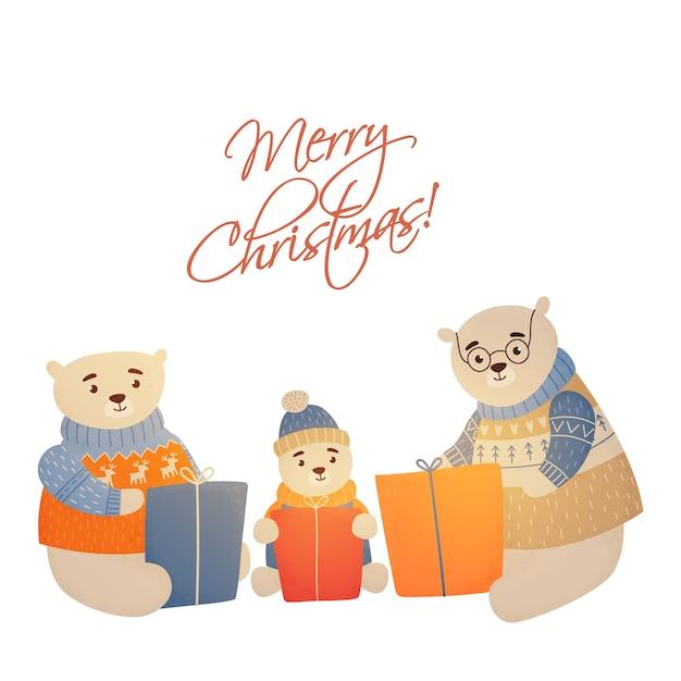Noël Famille Ours Joyeux Noël Vecteur Premium