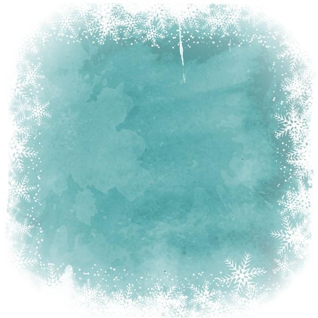 Noël flocon frontière sur un fond d'aquarelle Vecteur gratuit
