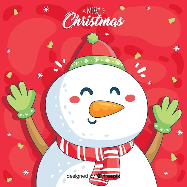 Noël fond dessiné à la main Vecteur gratuit
