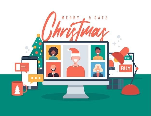 Noël En Ligne De Voeux De Personnes Se Réunissant En Ligne Vecteur Premium