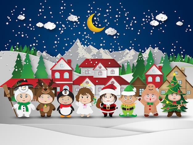 Noël mignons enfants Vecteur Premium