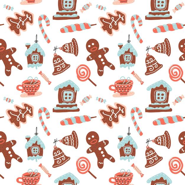Noël Modèle Sans Couture Avec Boisson Au Cacao, Biscuit Au Gingembre, Canne En Sucre Et Sucette. Bonbons De Noël. Vecteur Premium