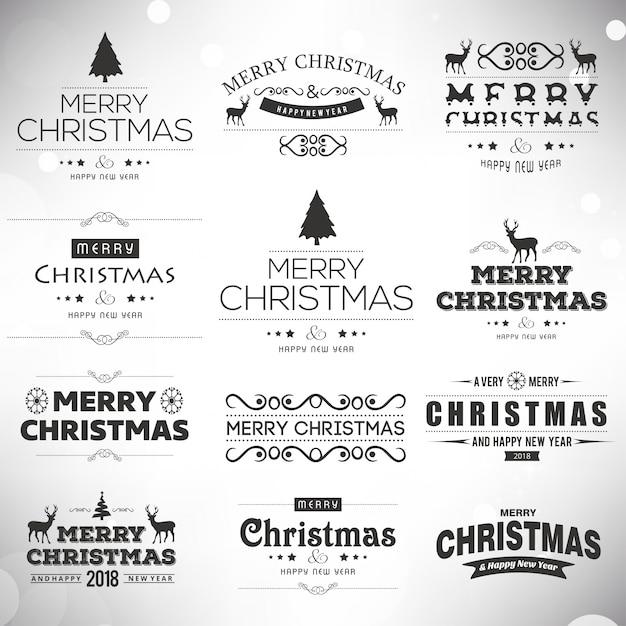 Noël Noir Et Blanc Typographies Créatives Sur Fond Uni