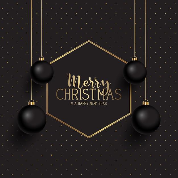 Noël noir et or Vecteur gratuit