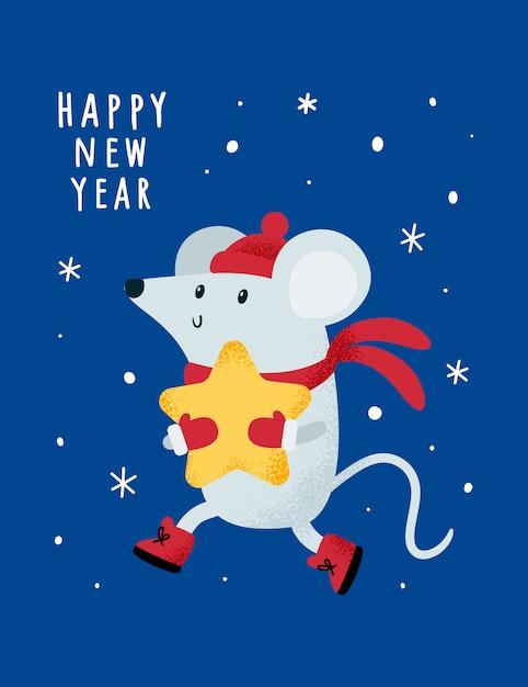 Noël Nouvel An 2020. Rat, Souris, Souris, Bébé Avec étoile. Vecteur Premium