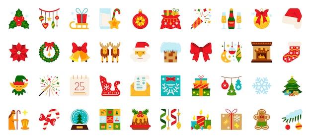 Noël, Nouvel An Icônes Plat Définies, Symbole De Vacances De Noël, Signe De Couleur De L'heure D'hiver. Vecteur Premium