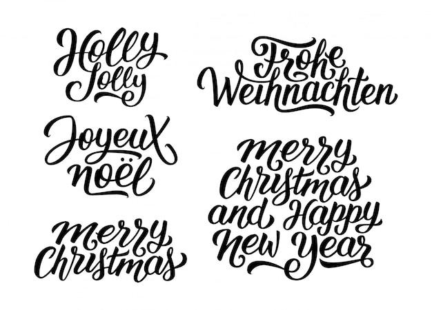 Noël Et Nouvel An Set De Lettrage Vectoriel Vecteur Premium