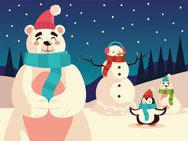 Noël Ours Polaires Bonhomme De Neige Et Pingouin Dans La Nuit Illustration De Paysage De Neige Vecteur Premium