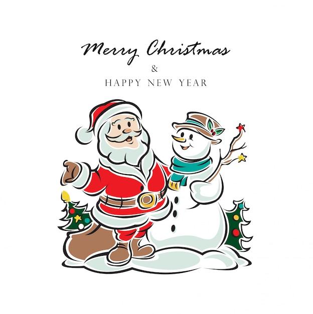 Noël, père noël, et, bonne année, vector illustration Vecteur Premium