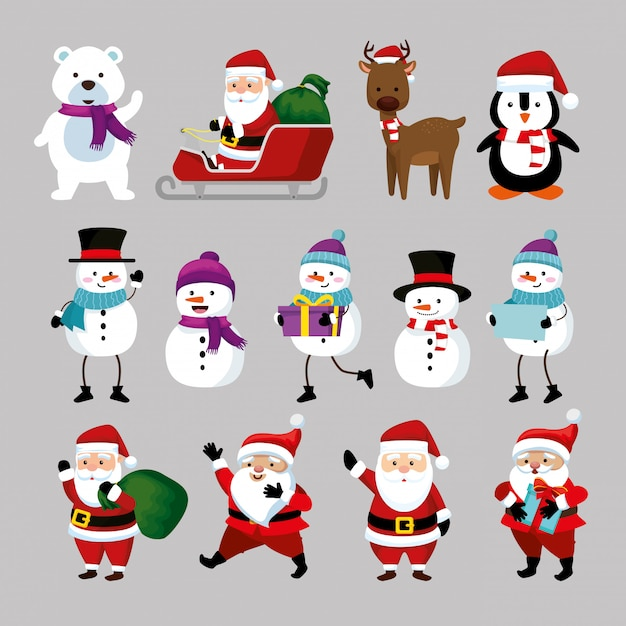 Noël Avec Le Père Noël Et Les Personnages Vecteur gratuit