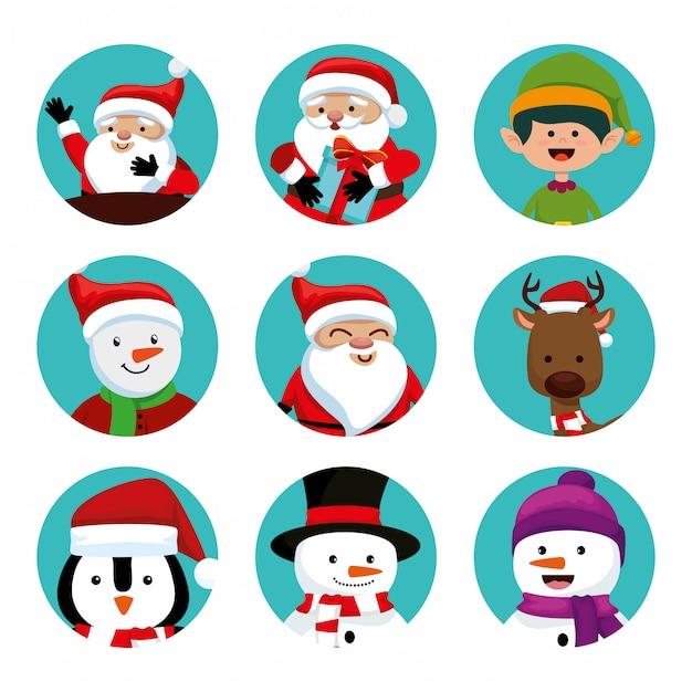 Noël avec père noël et personnages Vecteur gratuit
