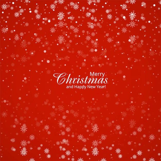 Noël de petits et grands flocons de neige en couleurs rouges Vecteur gratuit