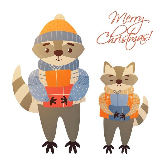 Noël Racoots Joyeux Noël Vecteur Premium