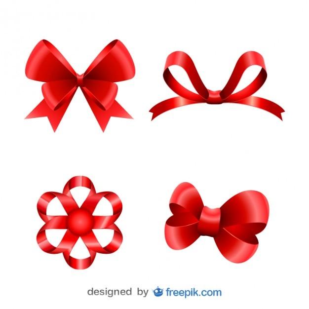 Noël rubans rouges astucieux mis Vecteur gratuit