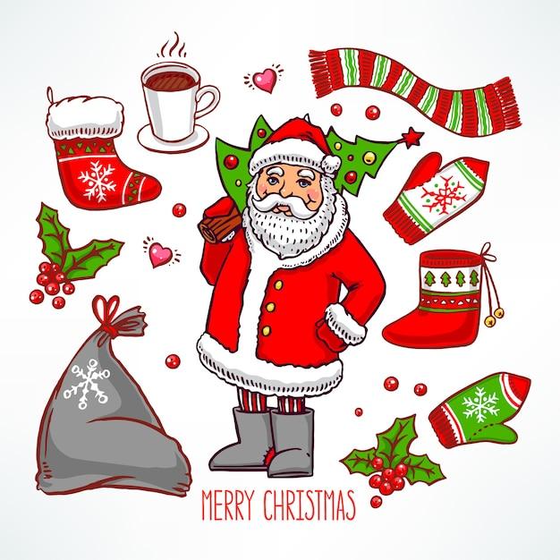 Noël Sertie D'attributs De Vacances Et Souriant Père Noël. Illustration Dessinée à La Main Vecteur Premium