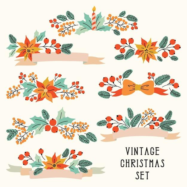 Noël Sertie De Fleurs Vintage Vecteur Premium