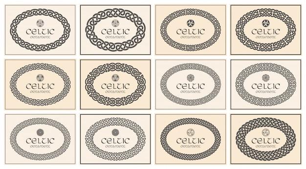 Noeud Celtique Tressé Ornement Frontière Frontière Ovale. Format A4. Vecteur Premium