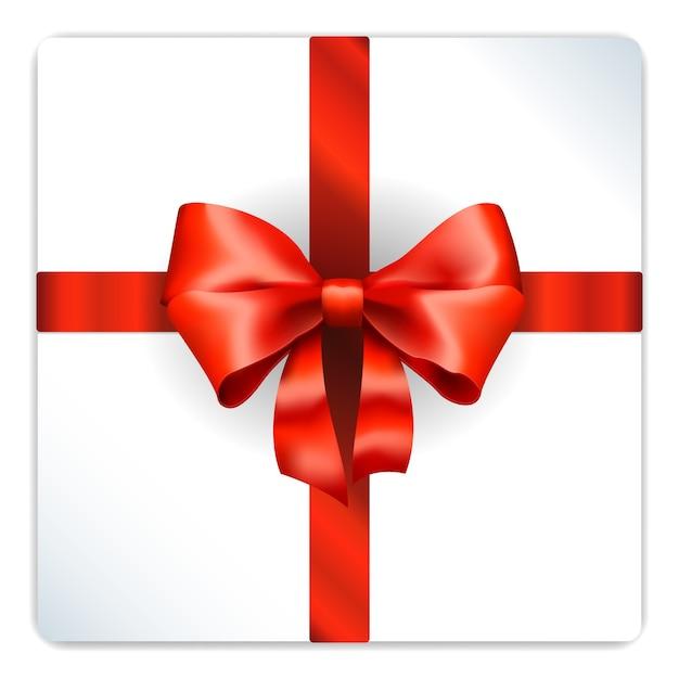 Noeud Rouge Sur Boîte Cadeau En Argent Vecteur gratuit
