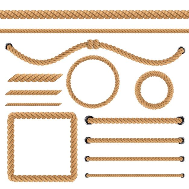 Noeuds de corde torsadés nautiques Vecteur Premium