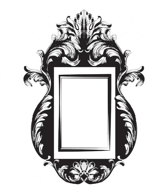 Noir et blanc. dessin au trait cadre vintage Vecteur Premium