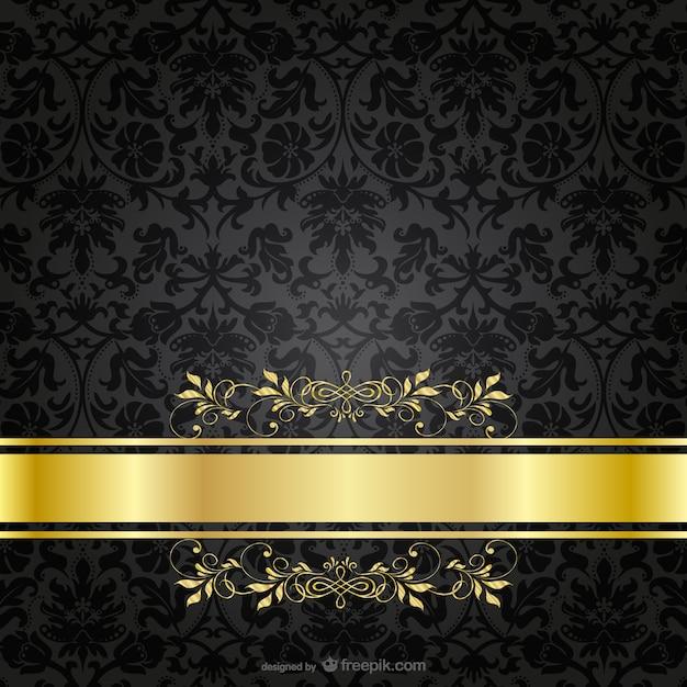 Noir de luxe modèle d'or Vecteur gratuit