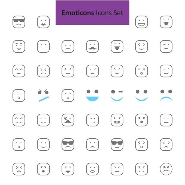 Noir et gris emoji icon set Vecteur gratuit