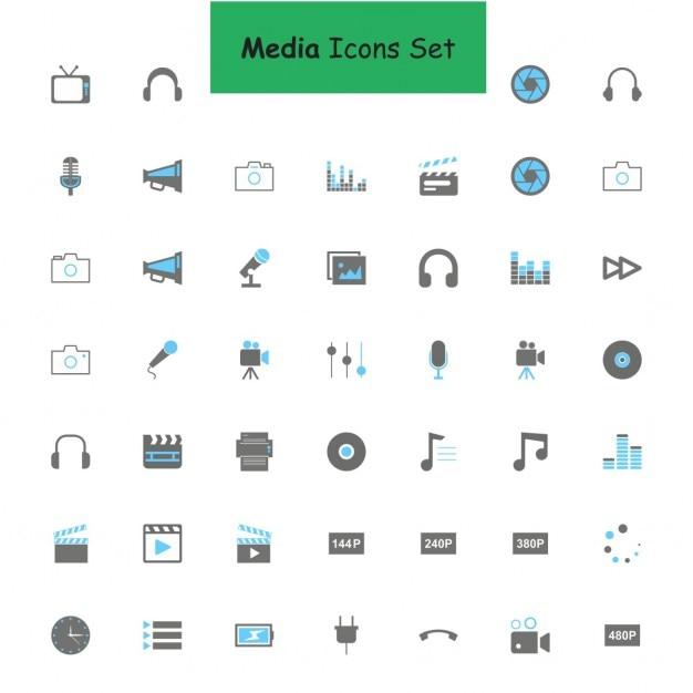 Noir et gris médias icon set Vecteur gratuit