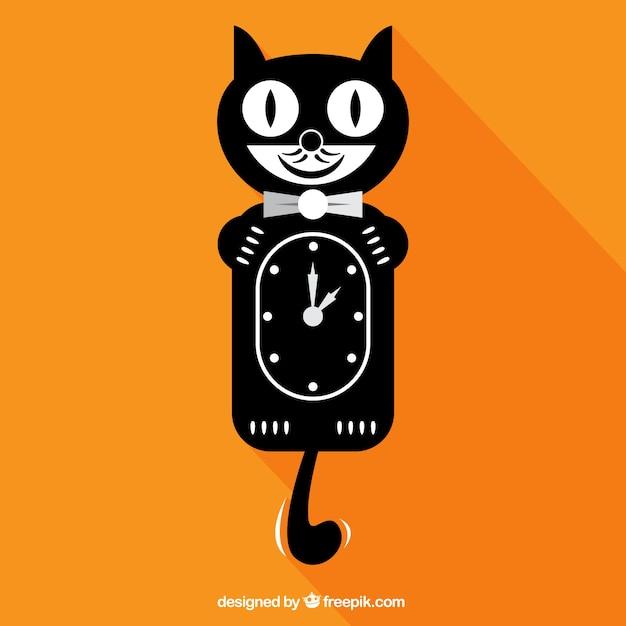 Noir horloge de chat t l charger des vecteurs gratuitement - Telecharger image de chat gratuit ...