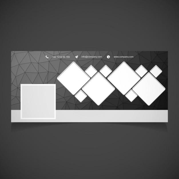 Noir polygonal timeline facebook bannière modèle Vecteur gratuit