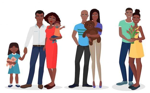 Noirs famille couple ensemble Vecteur Premium