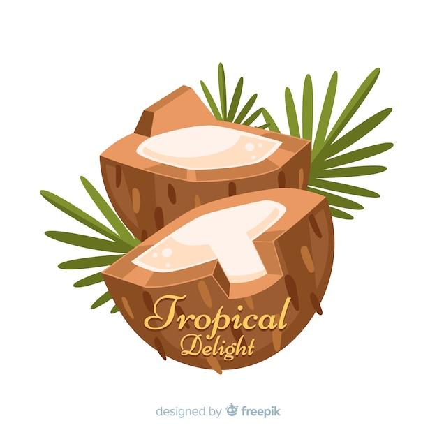 Noix de coco dessinées à la main avec fond de feuilles Vecteur gratuit