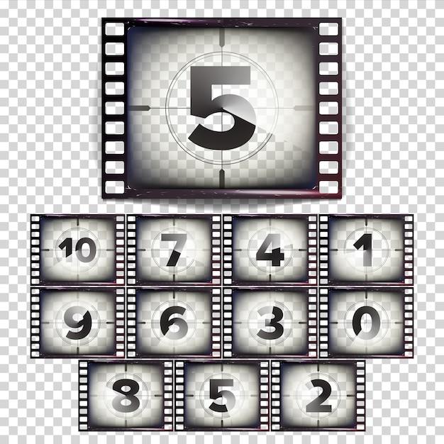 Nombre de films à rebours 10 - 0 Vecteur Premium