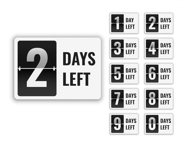Nombre de jours restant pour la vente et la promotion Vecteur Premium